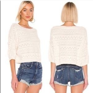 Free People Sweater Sand Rib Knitted Cropped Small